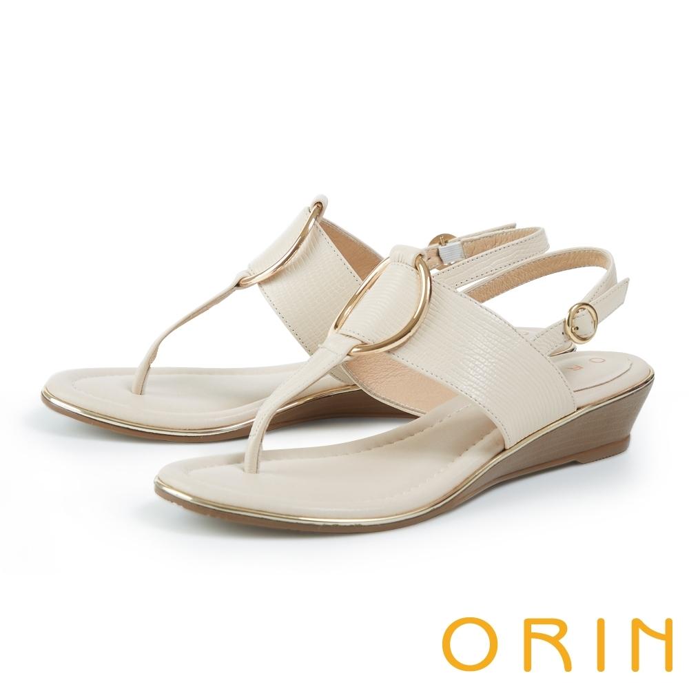 ORIN 皮革金屬圓環飾釦楔型 女 涼鞋 米色
