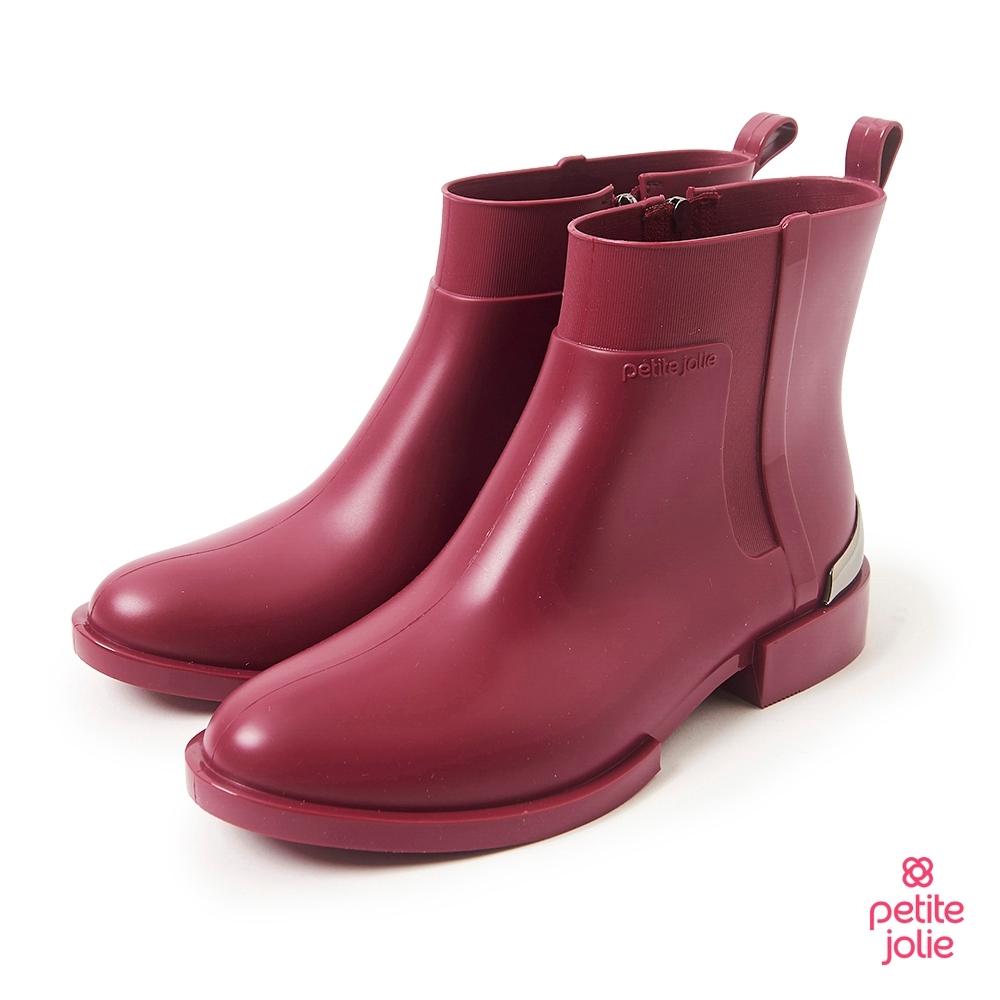 Petite Jolie-簡約時尚金屬短靴-酒紅