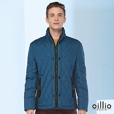 歐洲貴族oillio 羽絨外套 細膩縫線 氣宇動人 藍色