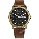 TIMEX 天美時 數字刻度 日期星期 礦石強化玻璃 真皮手錶-黑x古銅金框x褐/44mm