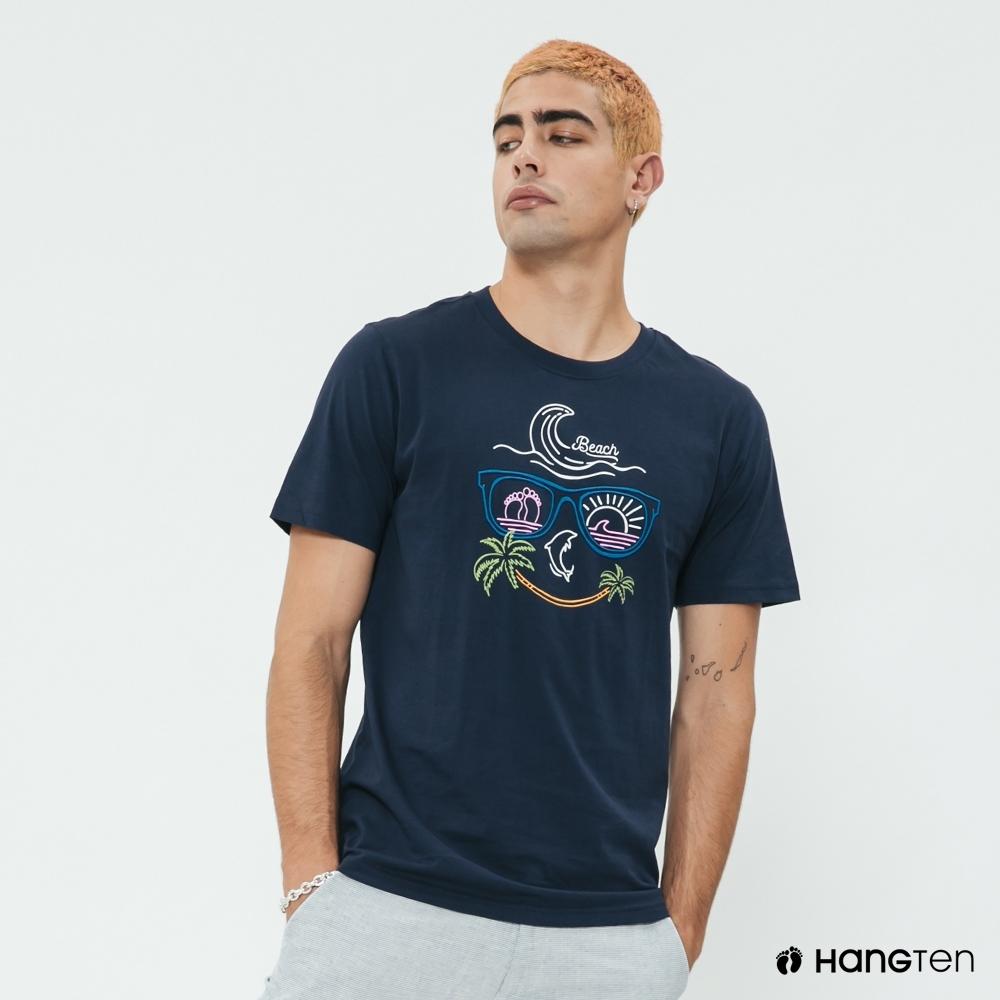 Hang Ten - 男裝 - 有機棉-簡約夏日霓虹圖樣短T- 藍