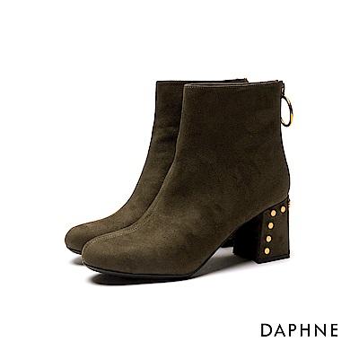 達芙妮DAPHNE 短靴-柔質靴面個性鉚釘粗跟短靴-橄欖綠