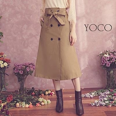 東京著衣-yoco 經典時髦排釦蝴蝶結綁帶A字長裙-S.M.L(共一色)