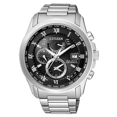 CITIZEN Eco-Drive 震撼出擊三眼電波錶(AT9080-57E)-黑