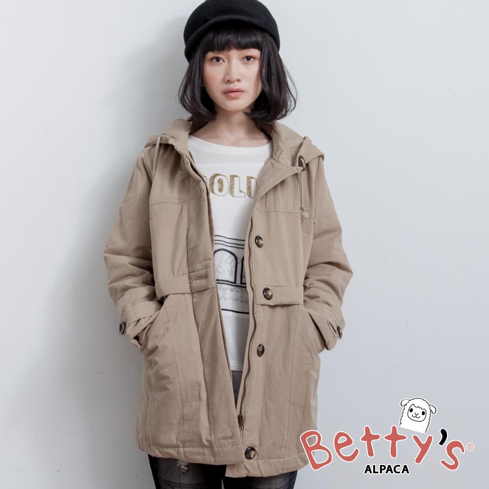 betty's貝蒂思 連帽抽繩鋪棉大衣(卡其)