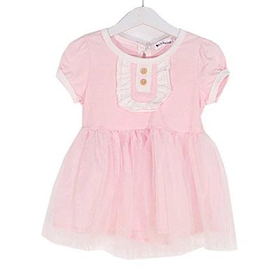 短袖紗裙洋裝 粉 k50406 魔法Baby