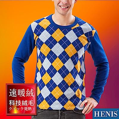 HENIS 速暖絨彈性印花長袖衫_寶藍底格紋