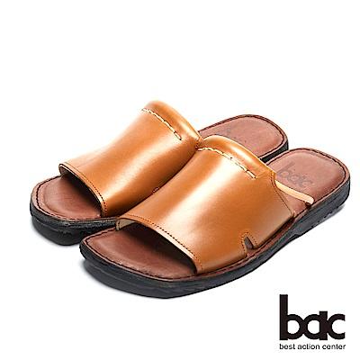 bac 台灣品質 簡約自在真皮涼拖鞋-棕
