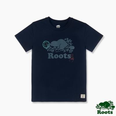 Roots 女裝- 環保有機棉系列 海狸LOGO短袖T恤-藍色