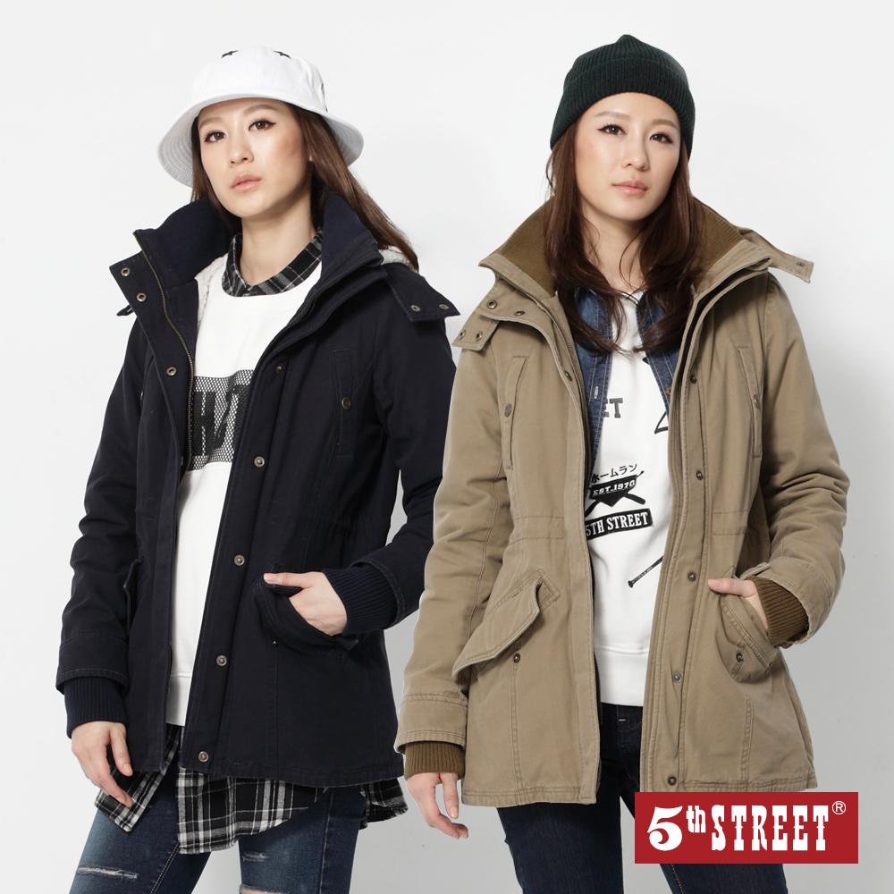 [時時樂限定] 5th STREET 女款帽可拆長版舖毛外套(2色)/洗舊舖毛連帽外套(2色)