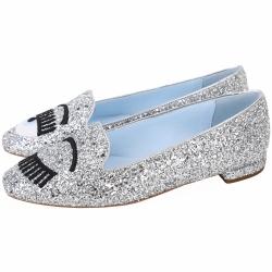 Chiara Ferragni Glitter Flirting  刺繡眨眼亮片時髦方頭鞋(銀色)