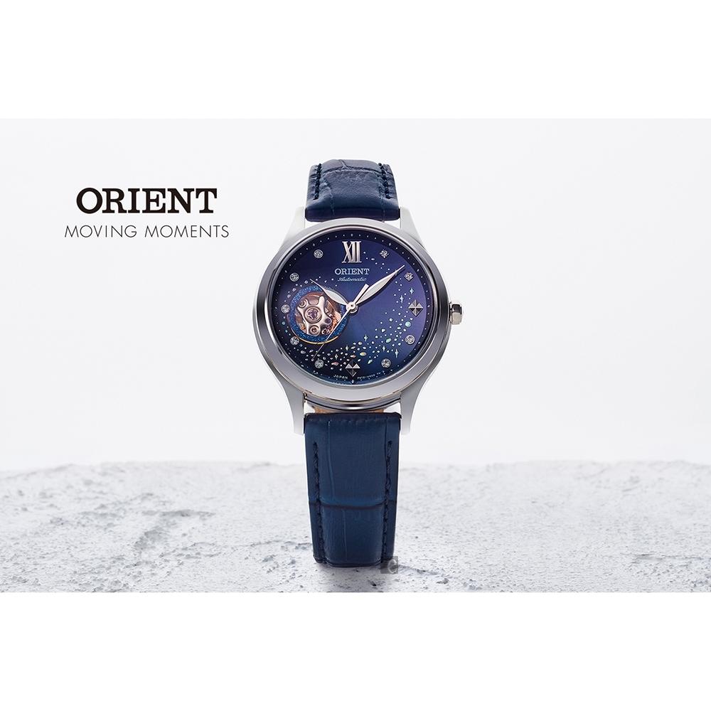 ORIENT 東方 藍月奇蹟晶鑽機械女錶-藍/34mm (RA-AG0018L)