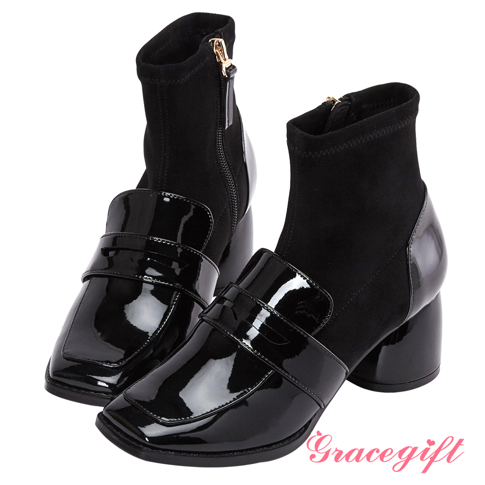 Grace gift X Kerina妞妞-異材質拼接襪型短靴 黑漆