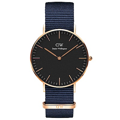 DW Daniel Wellington貝斯沃特午夜藍NATO錶帶石英腕錶-金框/36mm