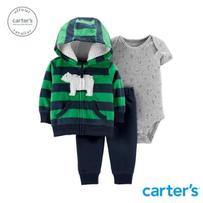 Carter s台灣總代理 條紋北極熊外套3件組套裝