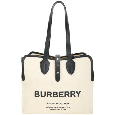 BURBERRY The Belt 中型 可拆萬用袋撞色拼接棉帆布托特包(自然色)