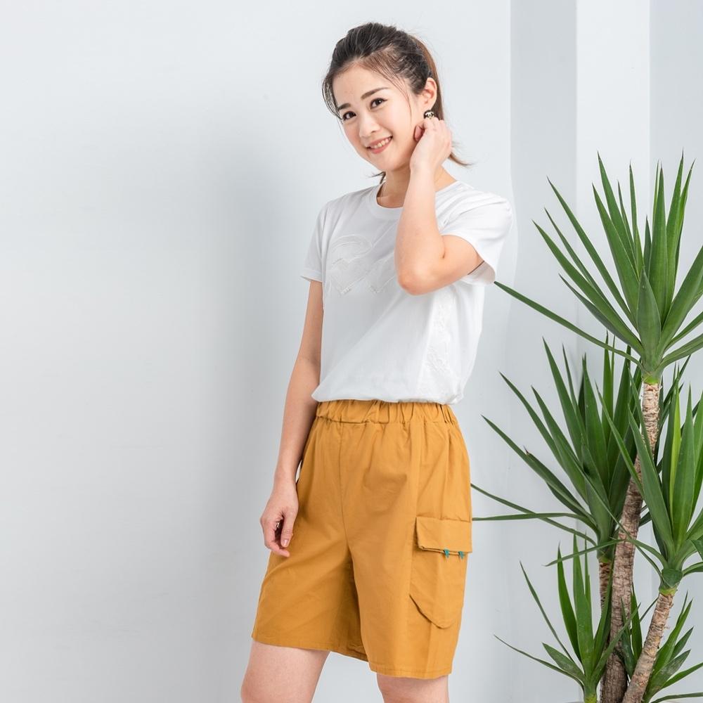 【白鵝buyer】 童趣口袋韓國製休閒褲_黃卡其