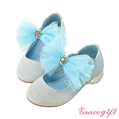 Disney collection by gracegift冰雪奇緣蝴蝶結童鞋 藍