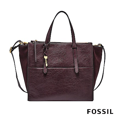 FOSSIL CAMPBELL 拼接手提+側背兩用托特包-棗紅色