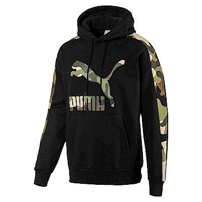 PUMA-男性流行系列野地迷彩長厚連帽T恤-黑色-歐規