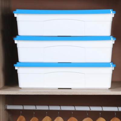 創意達人藍采床下扁平收納箱26L-3入組