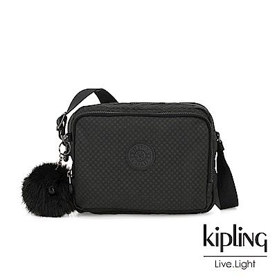Kipling 低調黑格紋雙層側背包-SILEN