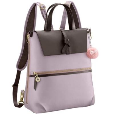 Kanana卡娜娜  大型 寬背帶尼龍後背兩用包-粉紫色
