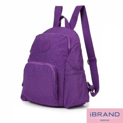 iBrand後背包 輕盈防潑水防盜尼龍後背包-紫色