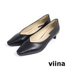 viina 素面特殊跟型跟鞋 - 黑