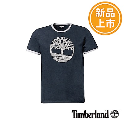 Timberland 男款藍黑色大樹LOGO短袖T恤