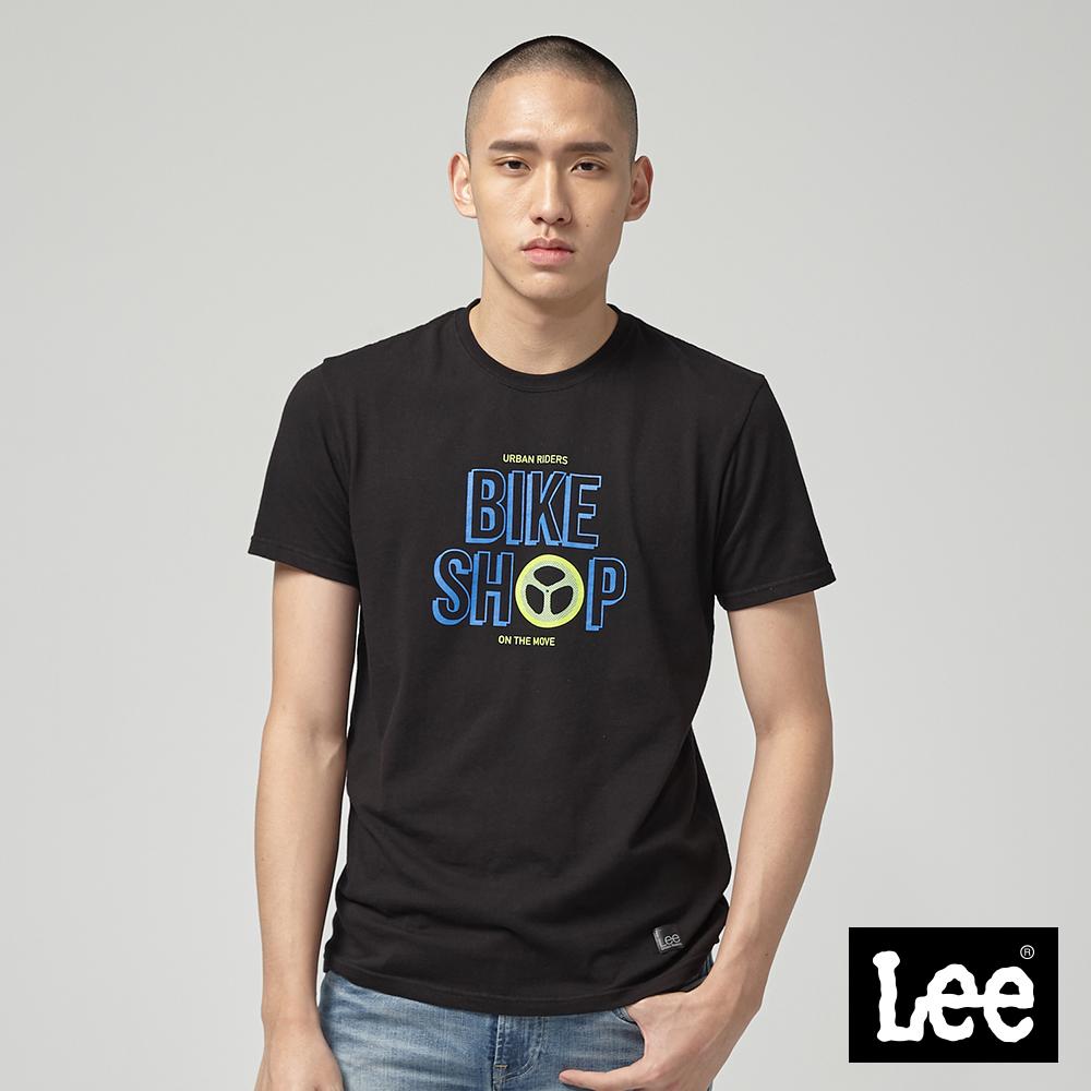 Lee U.R. BIKESHOP 輪胎短袖圓領T恤-黑