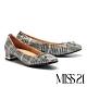 低跟鞋 MISS 21 舒適優雅蝴蝶結設計全真皮方頭低跟鞋-格紋 product thumbnail 1