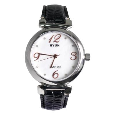 HYUN炫 珍珠母貝鱷魚皮紋錶-黑
