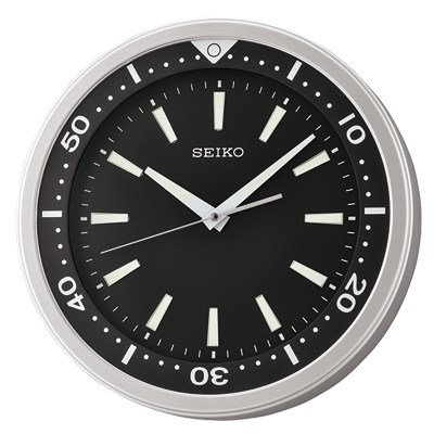 SEIKO 精工 黑水鬼 夜光 滑動式秒針 靜音掛鐘(QXA723A)-黑/35cm