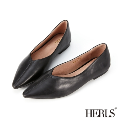 HERLS平底鞋-柔軟全真皮縫線尖頭平底鞋-黑色