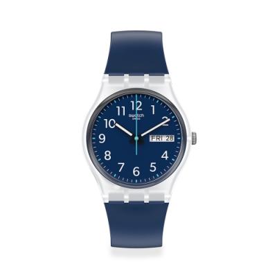 SWATCH Gent 原創系列手錶RINSE REPEAT NAVY 海洋藍(34mm)