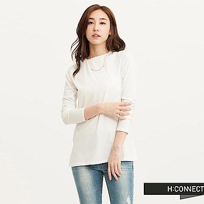 H:CONNECT 韓國品牌 女裝-圓領純色柔順長袖T-Shirt-白(快)
