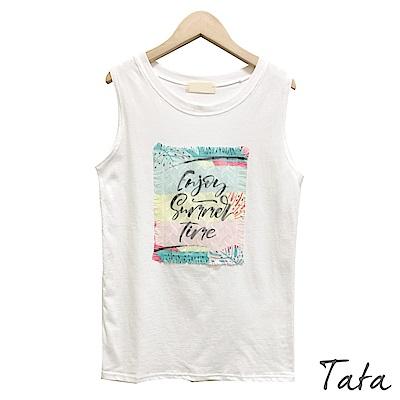 蕾絲刺繡字母背心 TATA