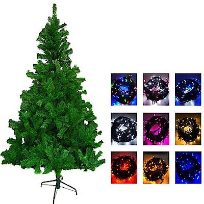 摩達客  6尺豪華版綠聖誕樹(不含飾品)+100燈LED燈2串附控制器