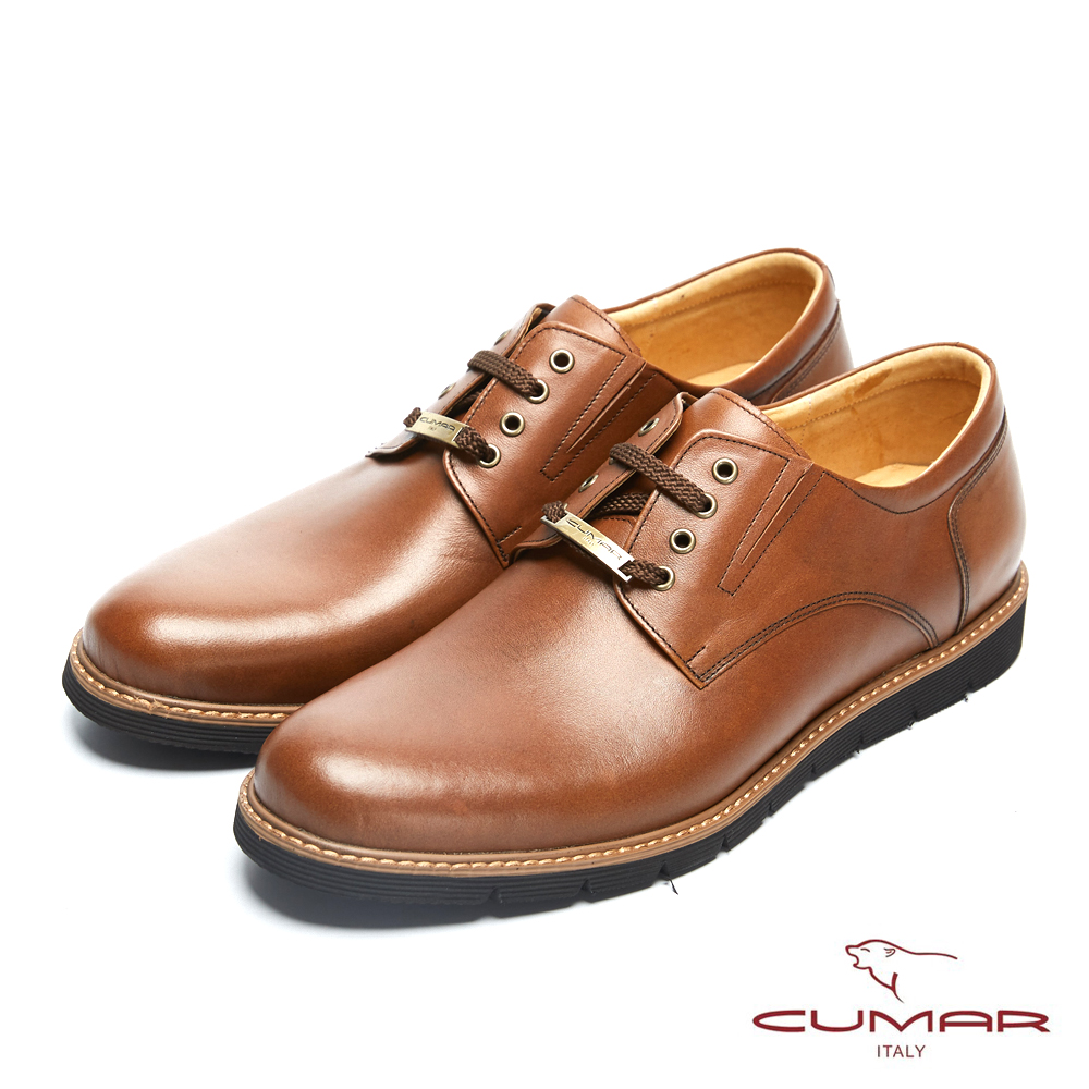 CUMAR英倫紳士 經典牛津舒適皮鞋-棕