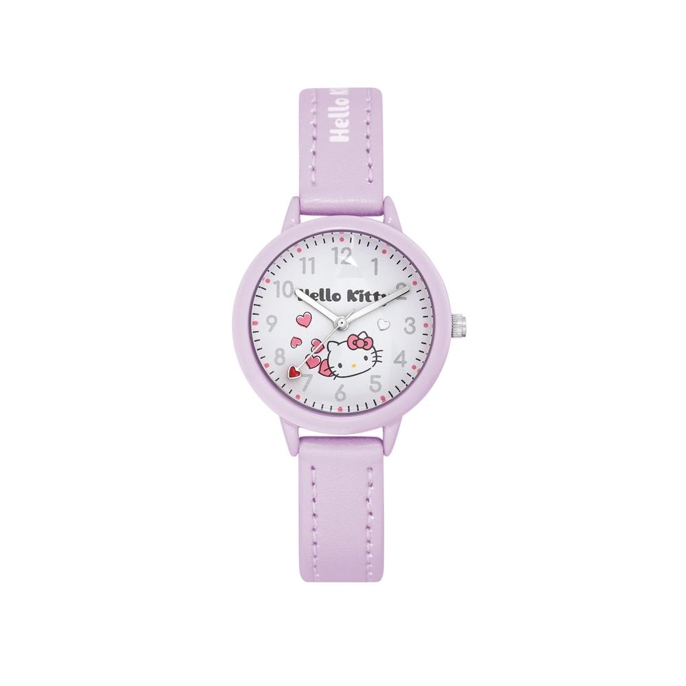 HELLO KITTY 凱蒂貓 粉嫩簡約造型手錶-白×淺紫/32mm @ Y!購物