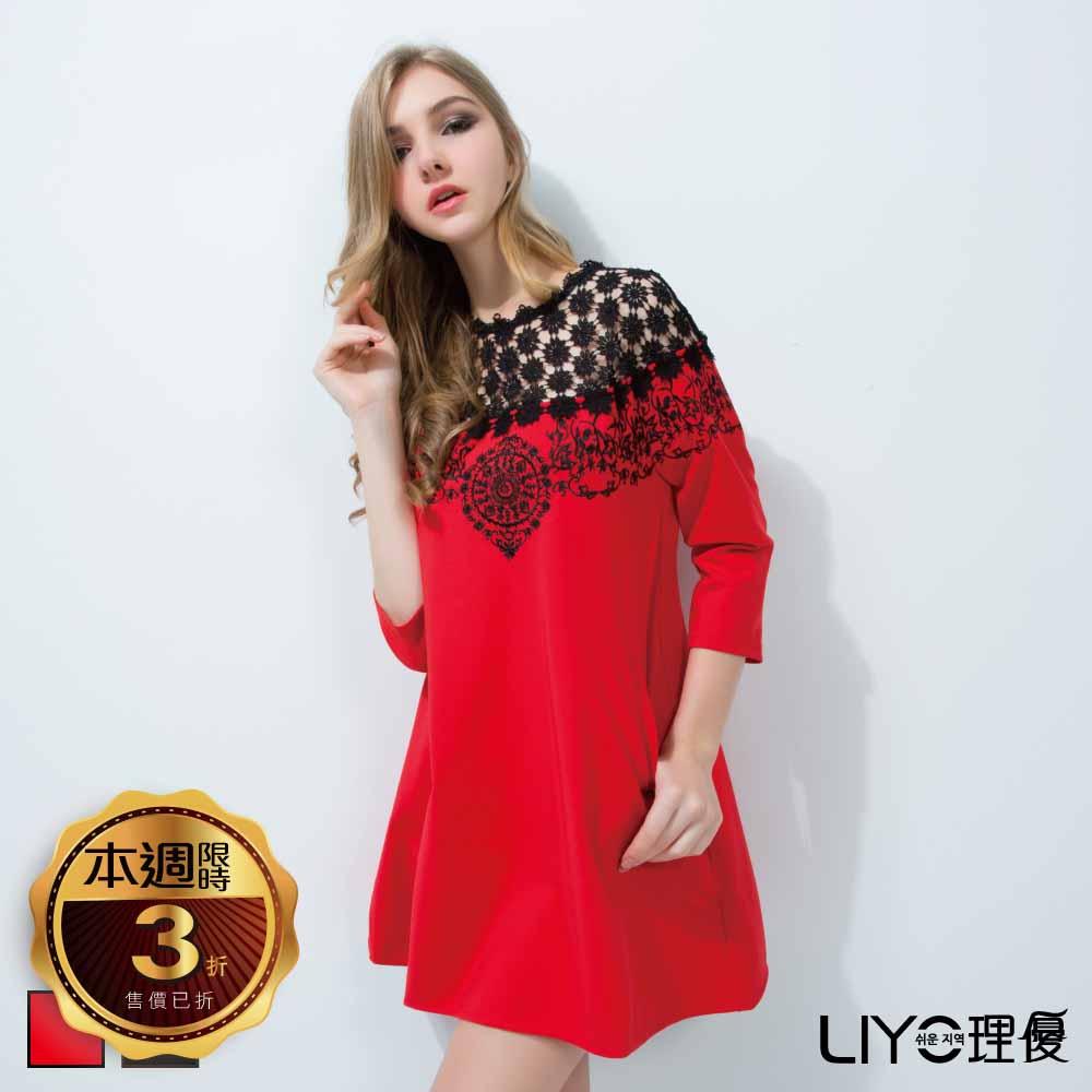 LIYO理優洋裝蕾絲拼接刺繡洋裝(黑,紅)