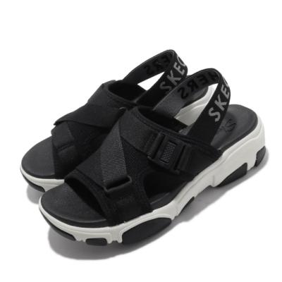Skechers 涼拖鞋 Daddy-O-Dibs 女鞋 厚底 增高 鬆緊帶 夏日 穿搭 透氣 黑 白 163051BLK