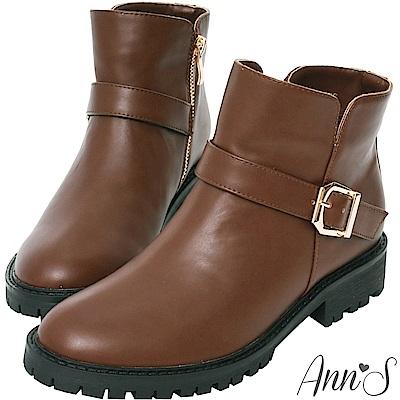 Ann'S側V短筒小惡魔短靴-深咖