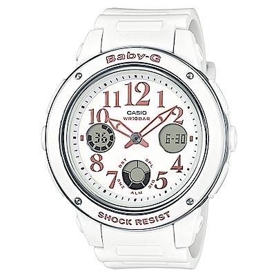BABY-G 清新典雅系列婉約時尚三眼雙顯休閒錶(BGA-150EF-7B)白色/43mm