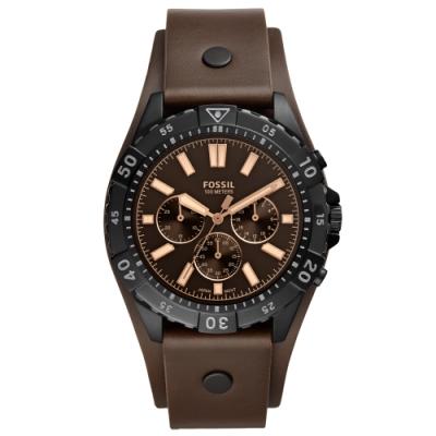 FOSSIL Garrett經典計時真皮手錶(FS5626)-咖啡/44mm