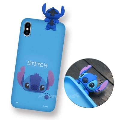 迪士尼授權正版 iPhone Xs / X 5.8吋 趴姿公仔手機殼 親膚軟殼(史迪奇)