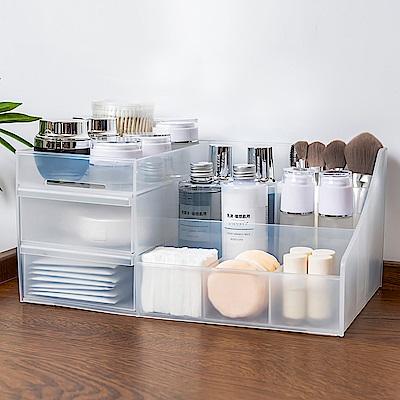 iware 透明磨砂 大容量化妝品面膜 桌面文具 桌上抽屜式收納盒 隔層分格 無印風格