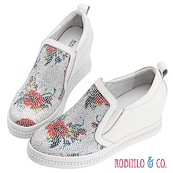 Robinlo & Co.古典美花卉鑲鑽真皮內增高休閒鞋 白色