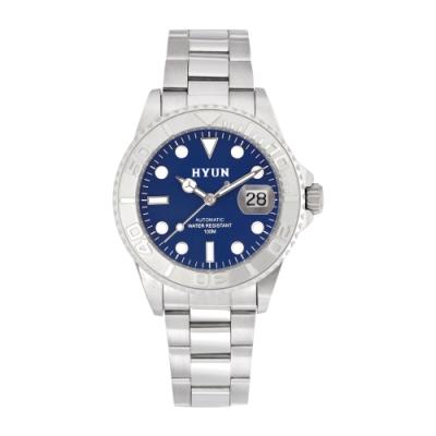 HYUN炫 白鋼男士設計精品錶-白鋼藍底